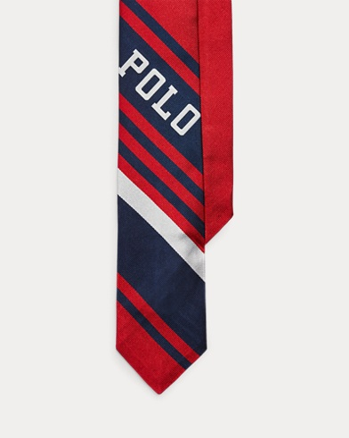폴로 랄프로렌 넥타이 Polo Ralph Lauren Striped Silk Narrow Tie,Navy/Red/White
