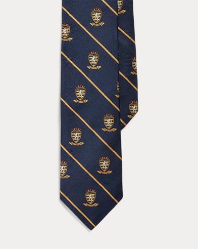 폴로 랄프로렌 Polo Ralph Lauren Striped Silk Narrow Club Tie,Navy