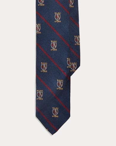 폴로 랄프로렌 Polo Ralph Lauren Striped Silk Narrow Club Tie,Navy/Wine