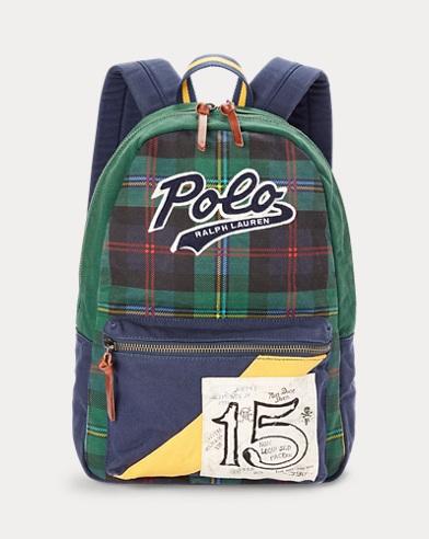 폴로 랄프로렌 Polo Ralph Lauren Tartan Cotton Canvas Backpack,Patchwork Multi