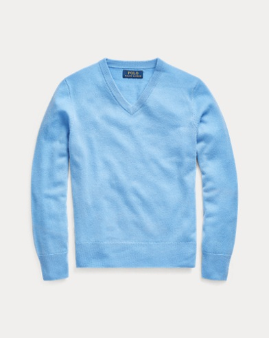 폴로 랄프로렌 보이즈 브이넥 스웨터 Polo Ralph Lauren Cashmere V-Neck Sweater,New Litchfield Blue