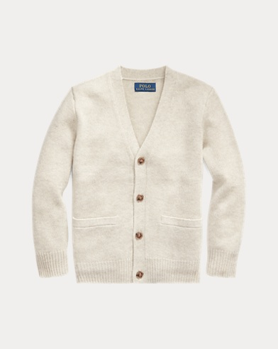 폴로 랄프로렌 남아용 브이넥 가디건 Polo Ralph Lauren Cashmere V-Neck Cardigan,Light Grey Heather