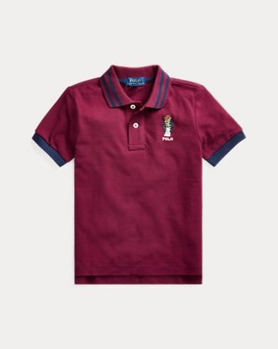 폴로 랄프로렌 남아용 폴로 셔츠 Polo Ralph Lauren Football Bear Cotton Mesh Polo,Classic Wine