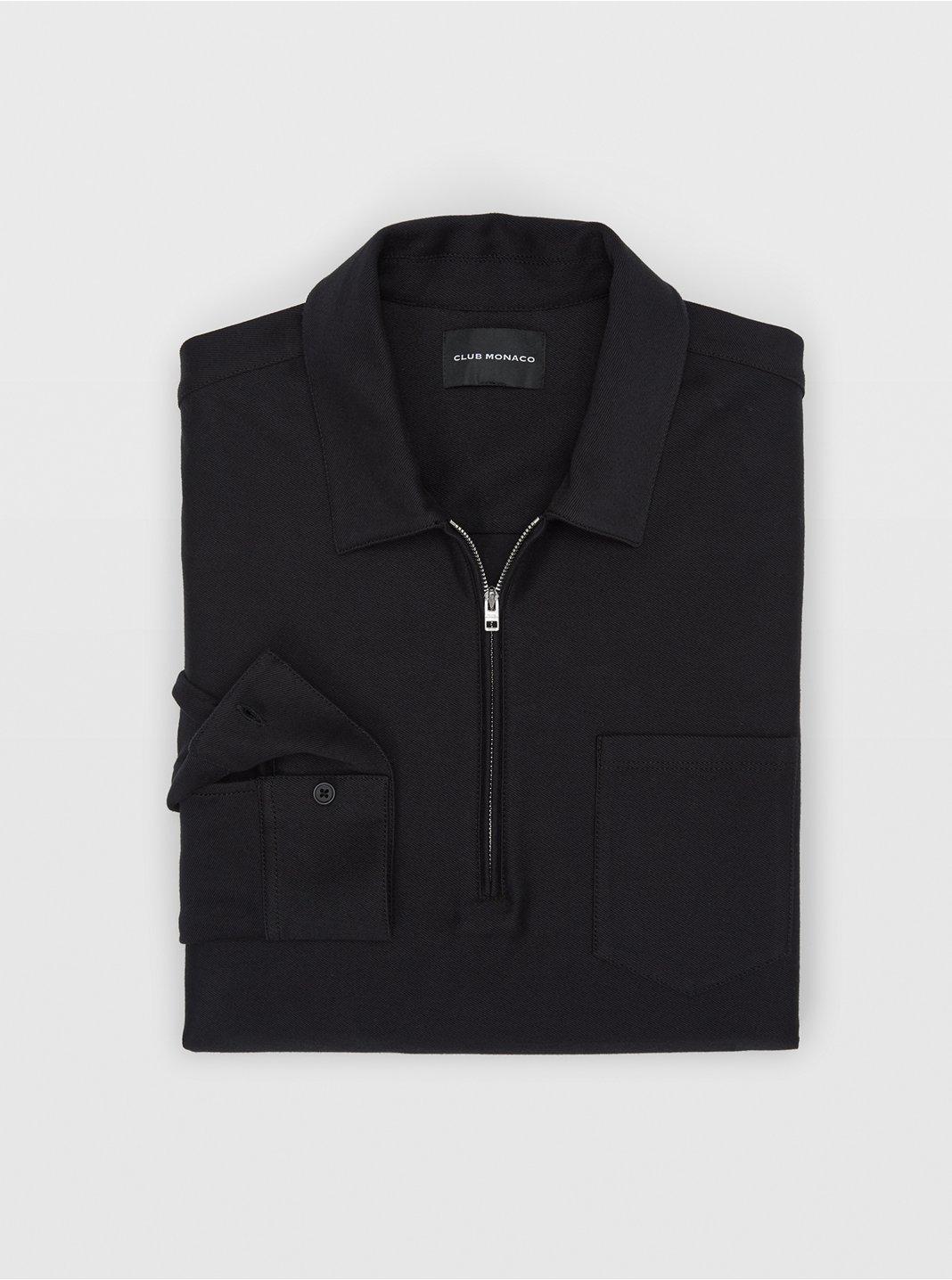 클럽 모나코 맨 트윌 집업 스웨터 Club Monaco Twill Zip Pullover,Black