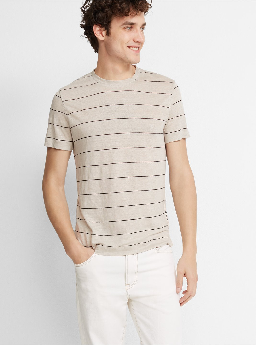 클럽 모나코 맨 스트라이프 리넨 반팔 티셔츠 Club Monaco Short-Sleeve Stripe Linen Crew,Natural And Black