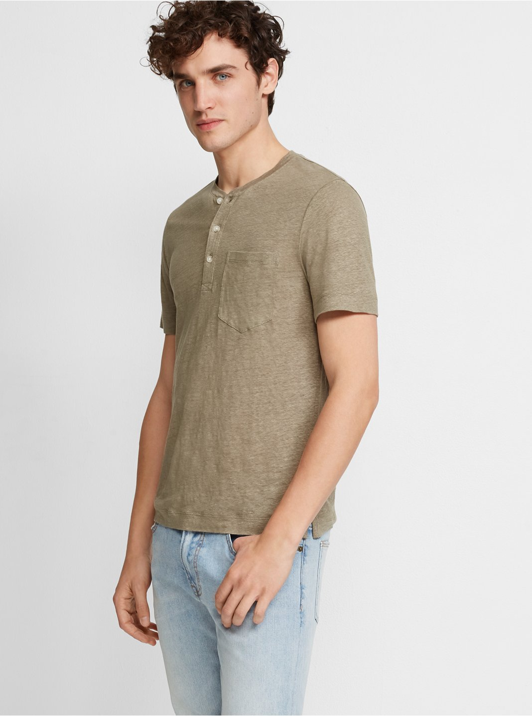 클럽 모나코 맨 리넨 헨리넥 반팔 티셔츠 Club Monaco Short-Sleeve Linen Henley