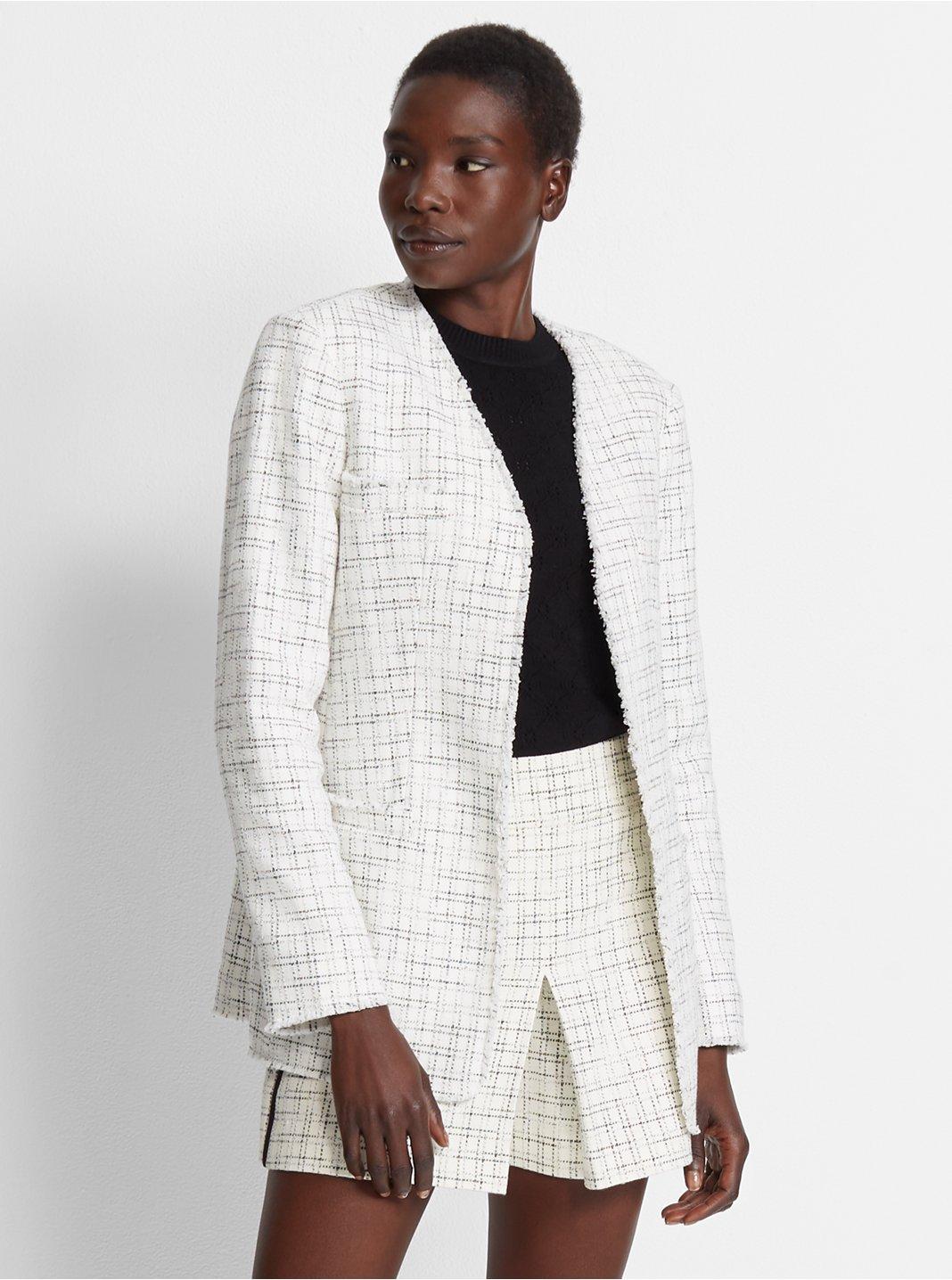 클럽 모나코 Club Monaco Marrylynne Tweed Jacket,White/ Navy