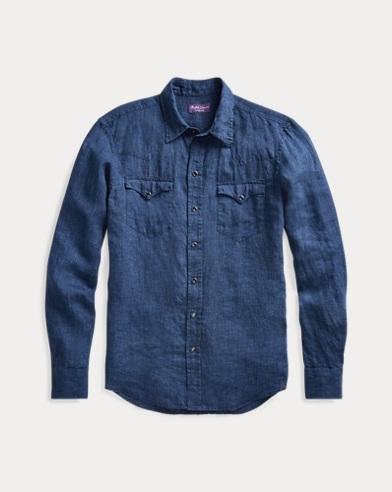 폴로 랄프로렌 Polo Ralph Lauren Linen Chambray Western Shirt,Dk Blue