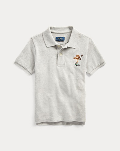 폴로 랄프로렌 남아용 폴로 셔츠 Polo Ralph Lauren Rugby Bear Cotton Mesh Polo,Lt Grey Heather