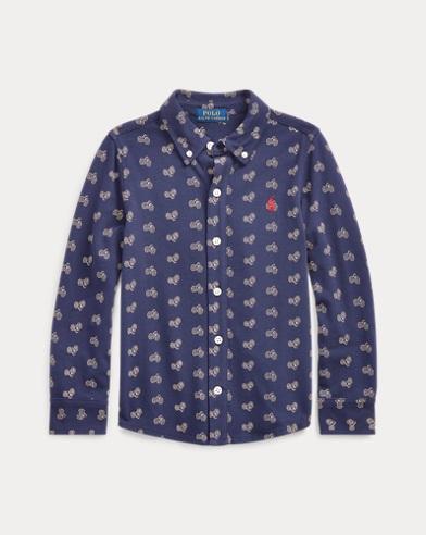 폴로 랄프로렌 남아용 옥스포드 셔츠 Polo Ralph Lauren Bike-Print Knit Oxford Shirt,Navy