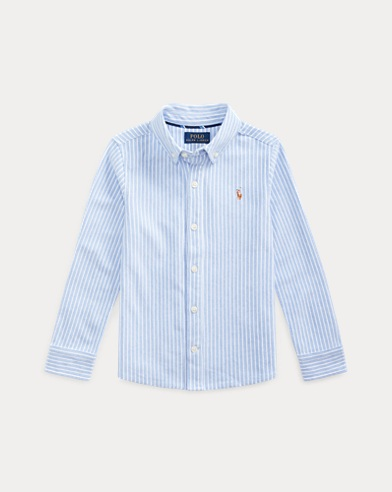폴로 랄프로렌 Polo Ralph Lauren Knit Cotton Oxford Shirt,Harbor Island Blue Multi
