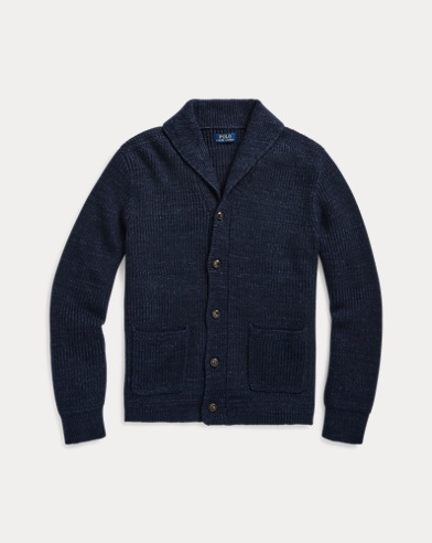 폴로 랄프로렌 Polo Ralph Lauren Cotton Shawl-Collar Cardigan,Navy Ragg