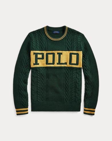 폴로 랄프로렌 Polo Ralph Lauren The Logo Aran Sweater,Forest/Gold