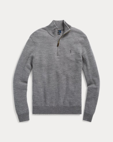 폴로 랄프로렌 그레이 투톤 메리노 울 스웨터 Polo Ralph Lauren Washable Merino Wool Sweater