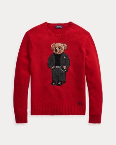 폴로 랄프로렌 Polo Ralph Lauren Suit Bear Wool Sweater,Red / Suit Bear