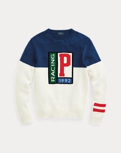 폴로 랄프로렌 맨 P 레이싱 스웨터 - 블루 Polo Ralph Lauren P Racing Sweater,Blue