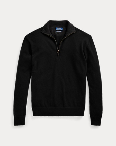 폴로 랄프로렌 맨 하프넥 캐시미어 스웨터 - 블랙 Polo Ralph Lauren Washable Cashmere Sweater