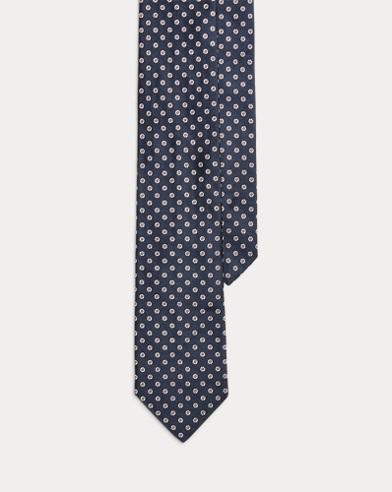 폴로 랄프로렌 Polo Ralph Lauren Mini-Flower Silk Narrow Tie,Navy