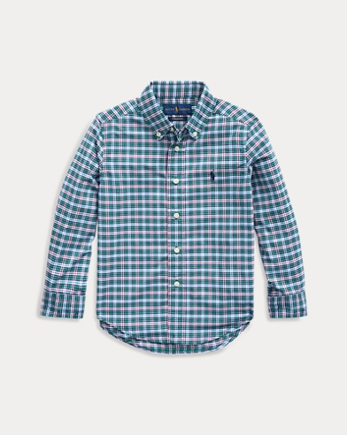 폴로 랄프로렌 Polo Ralph Lauren Plaid Performance Poplin Shirt,Green/Red