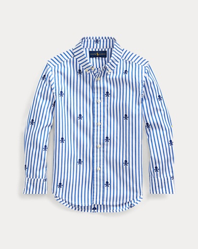 폴로 랄프로렌 Polo Ralph Lauren Striped Skull & Bones Shirt,Skull Jacquard