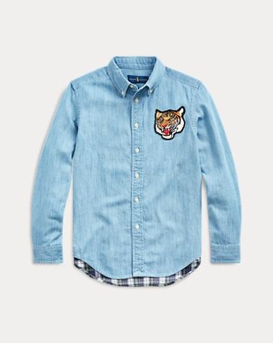 폴로 랄프로렌 보이즈 마드라스 패널 샴브레이 셔츠 Polo Ralph Lauren Madras-Panel Chambray Shirt,Lt Wash Chambray