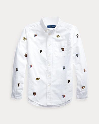 폴로 랄프로렌 보이즈 셔츠 Polo Ralph Lauren Embroidered Cotton Shirt,Bsr White