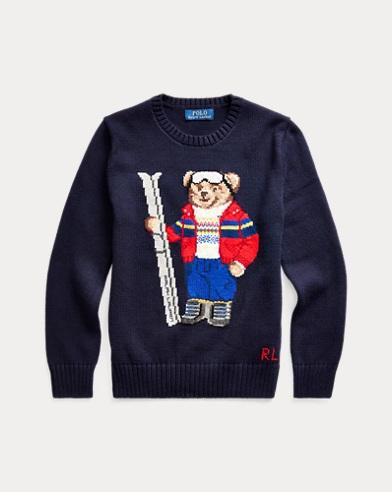 폴로 랄프로렌 보이즈 스웨터 Polo Ralph Lauren Ski Bear Cotton-Blend Sweater,RL Navy