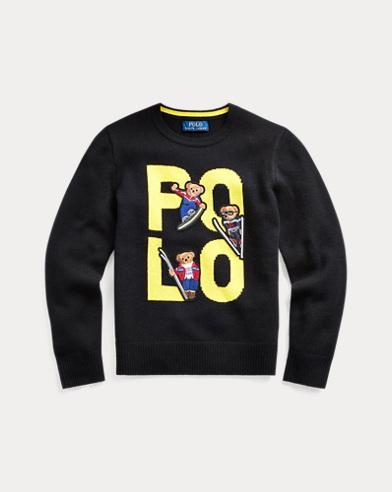 폴로 랄프로렌 보이즈 스웨터 Polo Ralph Lauren Polo Bear Merino Wool Sweater,Polo Black