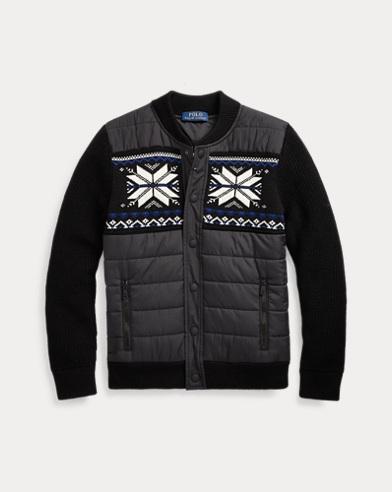폴로 랄프로렌 보이즈 하이브리드 스웨터 Polo Ralph Lauren Hybrid Snap-Front Sweater,Polo Black Multi