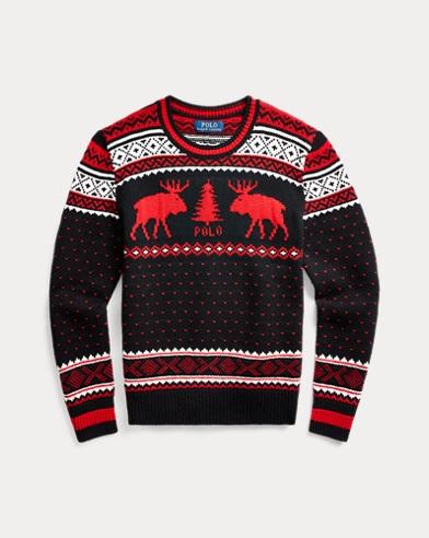 폴로 랄프로렌 보이즈 스웨터 Polo Ralph Lauren Reindeer Wool-Blend Sweater,Polo Black Multi