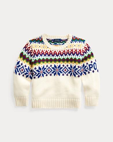 폴로 랄프로렌 남아용 스웨터 Polo Ralph Lauren Fair Isle Cotton-Wool Sweater,Cream Multi
