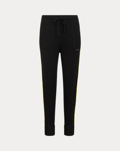 폴로 랄프로렌 우먼 스트라이프 캐시미어 조거팬츠 Polo Ralph Lauren Striped Cashmere Jogger,Black/Yellow