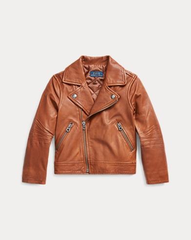 폴로 랄프로렌 여아용 자켓 Polo Ralph Lauren Leather Moto Jacket,Brown