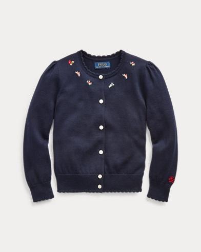 폴로 랄프로렌 Polo Ralph Lauren Floral Cotton Cardigan,RL Navy