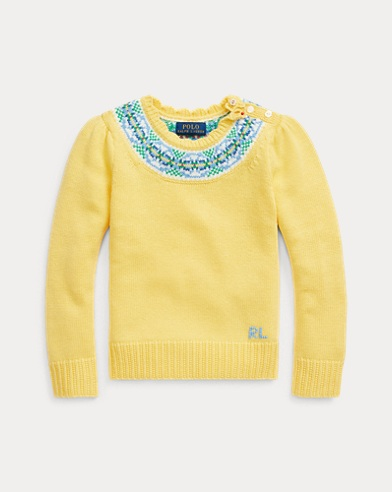 폴로 랄프로렌 여아용 스웨터 Polo Ralph Lauren Fair Isle Cotton-Blend Sweater,Fall Yellow