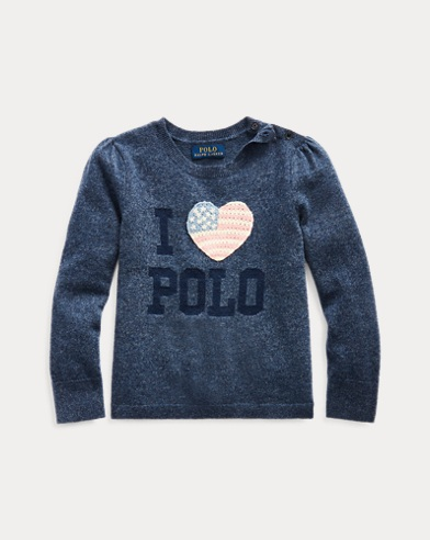 폴로 랄프로렌 여아용 스웨터 Polo Ralph Lauren Sparkle Wool-Blend Sweater,Indigo Heather