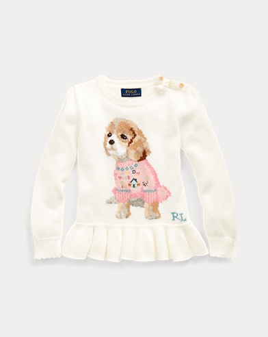 폴로 랄프로렌 여아용 스웨터 Polo Ralph Lauren Dog Peplum Wool-Blend Sweater,Trophy Cream