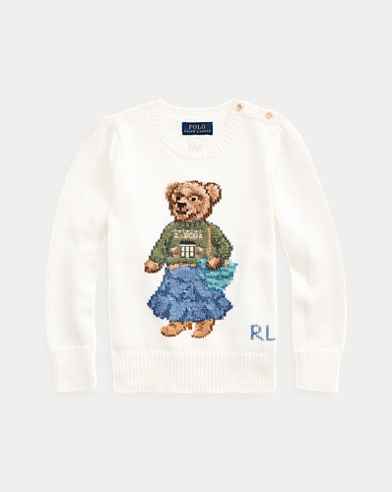 폴로 랄프로렌 여아용 스웨터 Polo Ralph Lauren Santa Fe Bear Cotton Sweater,Trophy Cream