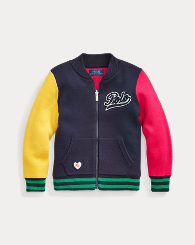 폴로 랄프로렌 여아용 가디건 Polo Ralph Lauren Reversible Cotton Zip Cardigan,RL Navy Multi