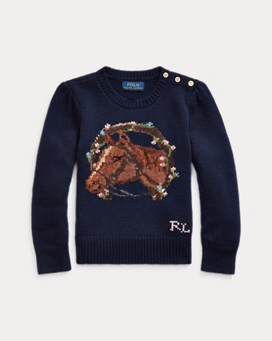 폴로 랄프로렌 여아용  스웨터 Polo Ralph Lauren Horse Wool-Blend Sweater,RL Navy