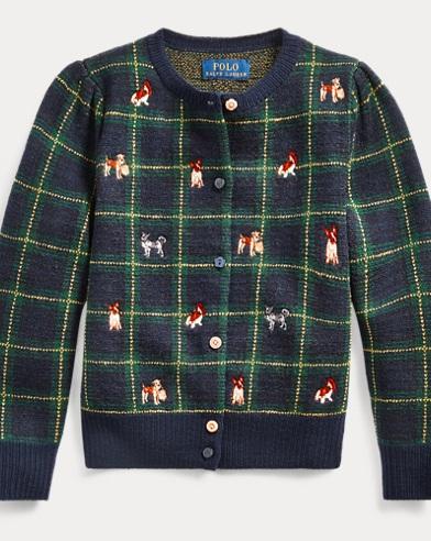 폴로 랄프로렌 걸즈 가디건 Polo Ralph Lauren Schiffli Dog Wool Cardigan,RL Navy Multi