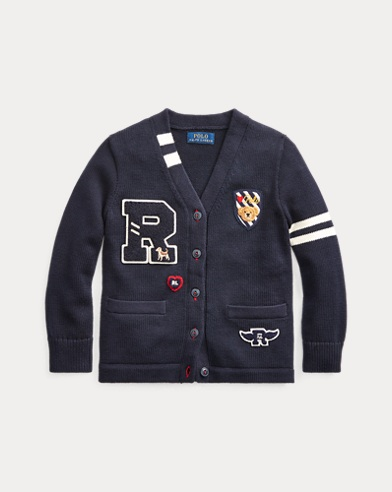 폴로 랄프로렌 여아용 가디건 Polo Ralph Lauren Cotton Letterman Cardigan,RL Navy