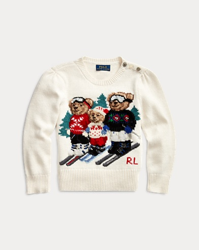 폴로 랄프로렌 여아용 스웨터 Polo Ralph Lauren Bear Wool-Blend Sweater,Clubhouse Cream