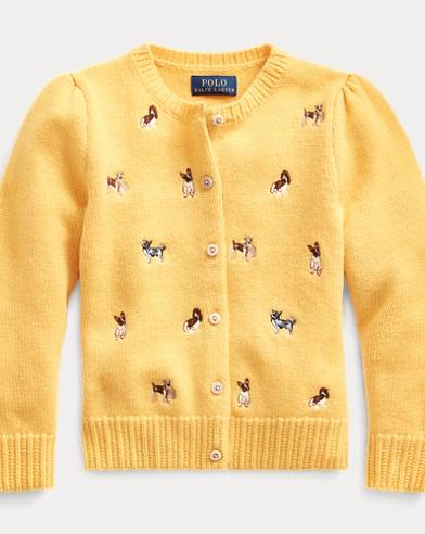 폴로 랄프로렌 걸즈 가디건 Polo Ralph Lauren Schiffli Wool-Blend Cardigan,Yellow