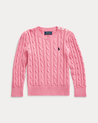 폴로 랄프로렌 여아용 스웨터 Polo Ralph Lauren Cable-Knit Cotton Sweater,Wine Rose Heather