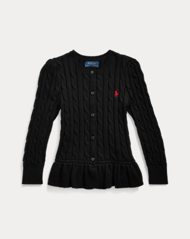 폴로 랄프로렌 여아용 가디건 Polo Ralph Lauren Cable Cotton Peplum Cardigan,Polo Black