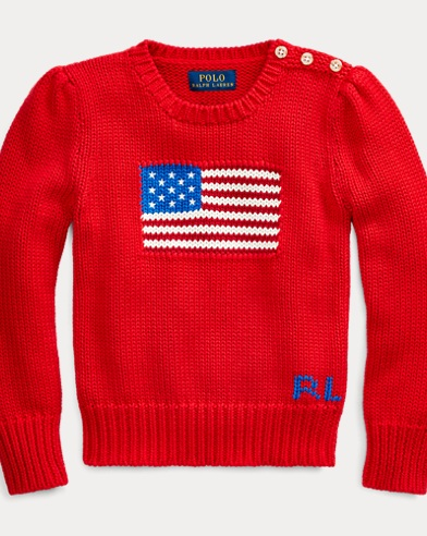 폴로 랄프로렌 여아용 스웨터 Polo Ralph Lauren Flag Cotton Sweater,RL 2000 Red
