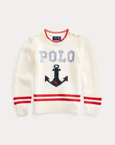 폴로 랄프로렌 여아용 스웨터 - 크림 Polo Ralph Lauren Intarsia-Anchor Cotton Sweater