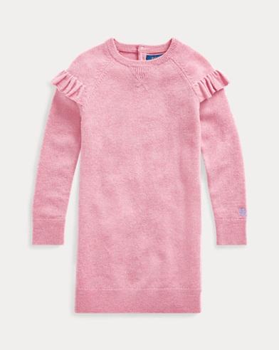 폴로 랄프로렌 Polo Ralph Lauren Ruffled Wool Sweater Dress,Wine Rose Heather