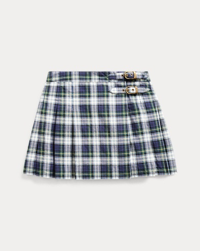 폴로 랄프로렌 여아용 스커트 Polo Ralph Lauren Plaid Cotton Madras Skirt,Navy Green Multi